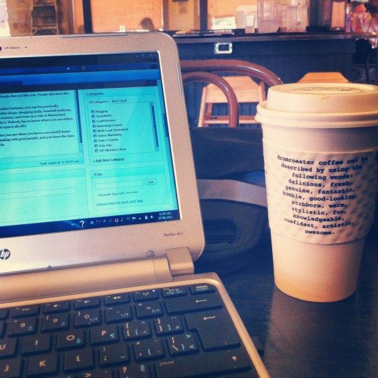 This is my coffee shop desk as it looked while I wrote this blog post.