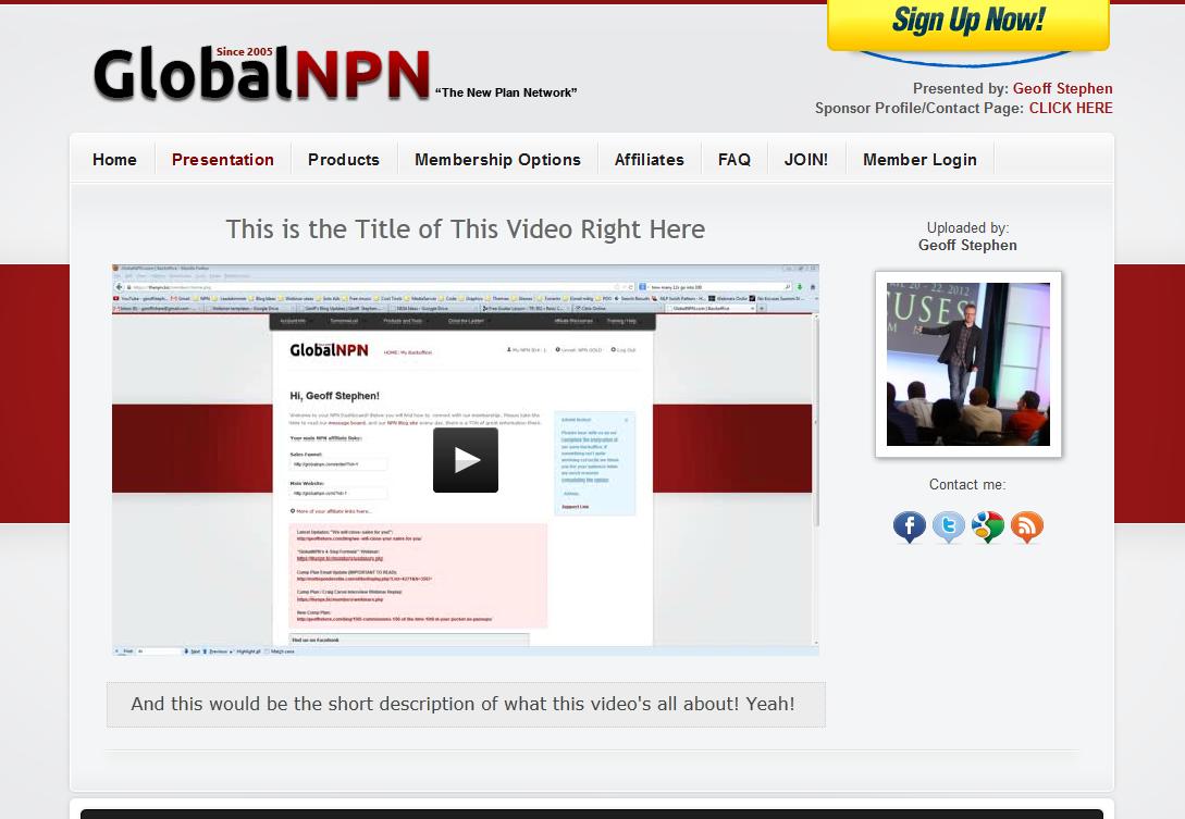 Global NPN Video UPloader page